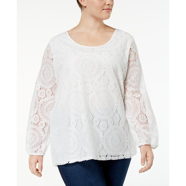 2e541364d4d84e Shop ING White Women s Size 3X Plus Long-Sleeve Lace Scoop-Neck Blouse -  Free Shipping On Orders Over  45 - Overstock - 27566481
