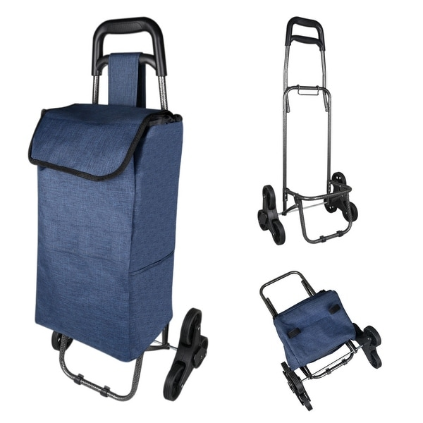 3c81be6e1f66 Shop Folding Shopping Trolley Stair Climbing Cart with Bag for ...