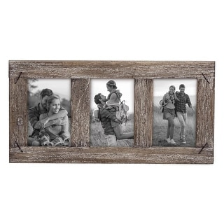 Link to Foreside Home & Garden 4 x 6 inch Decorative Distressed Wood Picture Frame with Nail Accents - Holds 3 4x6 Photos Similar Items in Decorative Accessories