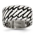 Chisel Stainless Steel Polished Tread Design Ring (11 mm) - Thumbnail 0