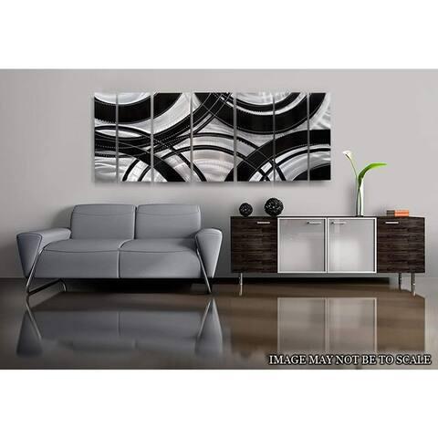 Statements2000 Abstract Modern Metal Wall Art Panels Silver Black Decor by Jon Allen - Crossroads