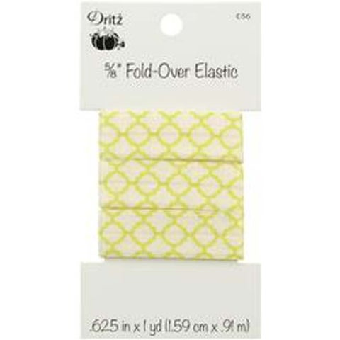 "Quatrefoil - Lime - Fold-Over Elastic 5/8""X1yd"