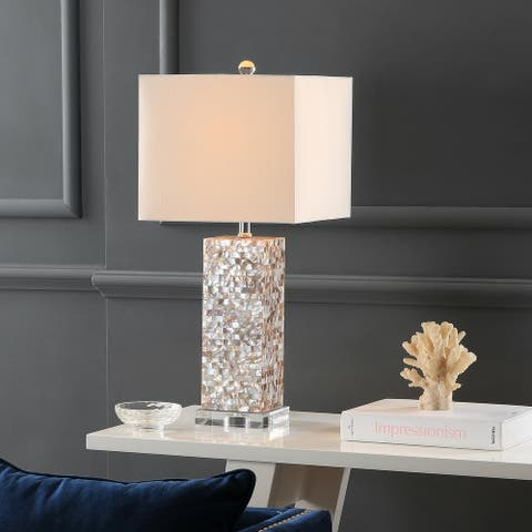 "Safavieh Lighting 26-inch Homer Sea Shell Table Lamp (Set of 2) - 11.5"" W x 11.5"" L x 26"" H"