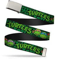 Blank Chrome Buckle Classic Tmnt Group Faces Turtles Turtle Shell Web Belt - S