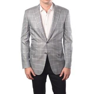 Brioni Men Two-Button Silk-Wool Blend Sport Jacket Blazer Blue