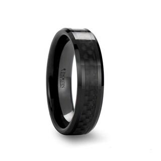 THORSTEN - ODESSA Beveled Black Ceramic Ring with Black Carbon Fiber Inlay for Her - 6mm