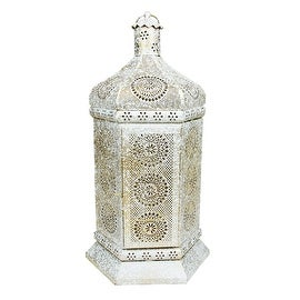 "21.5"" Distressed White and Gold Antique Style Moroccan Floral Cut-Out Pillar Candle Lantern"