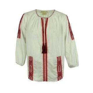 Michael Kors Women's Embroidered Tassel Top