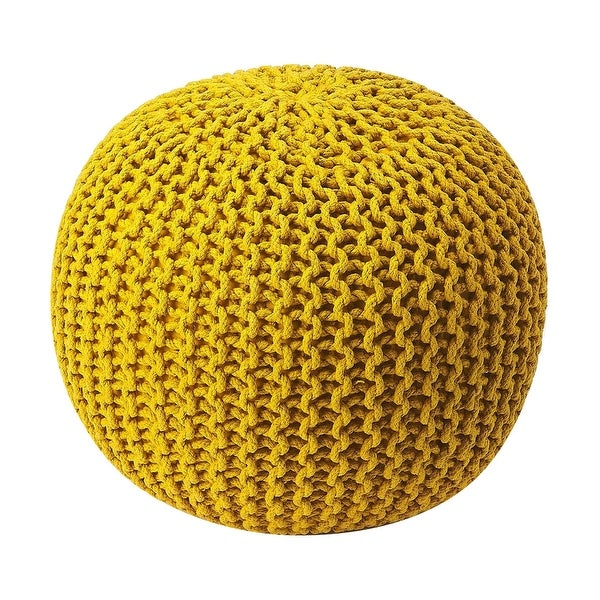 Modern Accent Round Woven Pouffe - Yellow