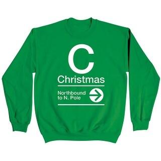Christmas Northbound Novelty Subway Sign-Mens Sweatshirt