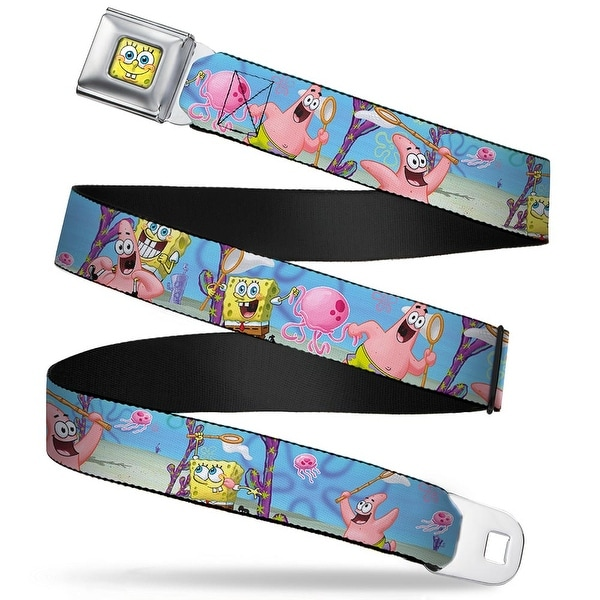 Sponge Bob 3 D Face Close Up Sponge Bob & Patrick Starfish Jellyfishing Seatbelt Belt
