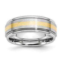 Chisel Cobalt Chromium 14k Gold Inlay Satin Polish 8mm Band