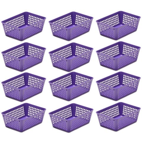12-Pack Plastic Storage Baskets for Office Drawer, Classroom Desk