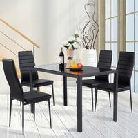 Costway 5 Piece Kitchen Dining Set Glass Metal Table and 4 Chairs Breakfast Furniture - Black