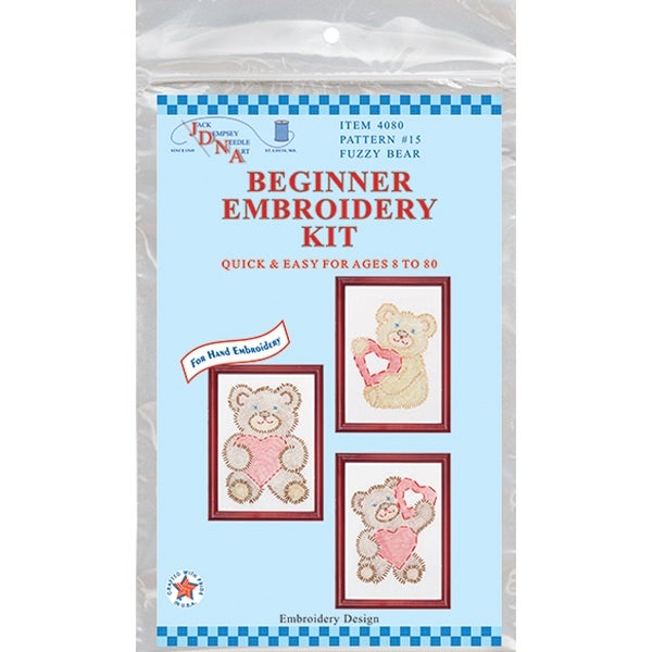"Stamped Embroidery Kit Beginner Samplers 6""X8"" 3/Pkg-Fuzzy Bears - White"