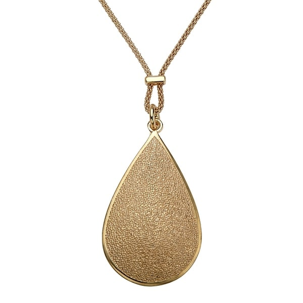 Pear-Shaped Textured Drop Pendant in 14K Gold-Plated Sterling Silver - Yellow