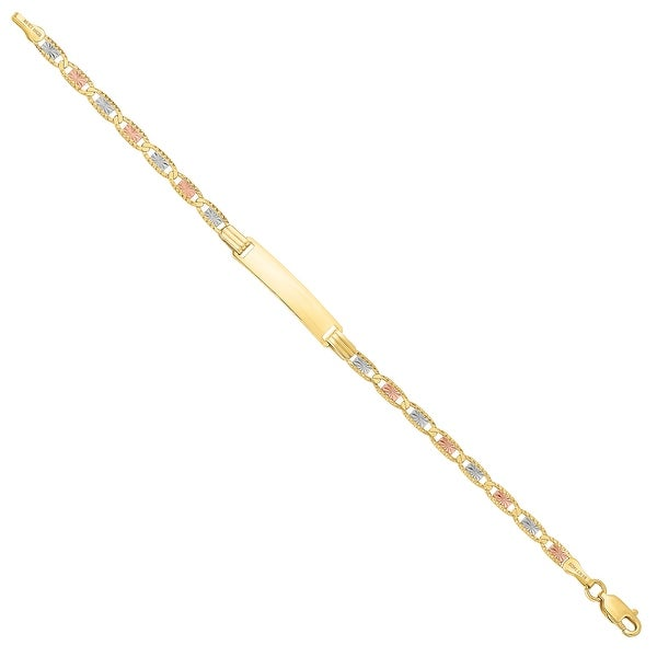 Mcs Jewelry Inc 14 Karat Three Tone, Yellow Gold Rose Gold and White Gold, ID Bracelet(4.4MM)