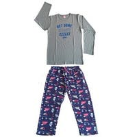 Women Cotton Top & Fleece Lined Pants Pajamas Set (Grey)