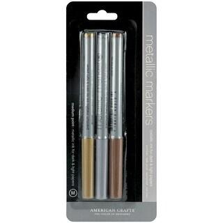 Metallic Markers Medium Point 3/Pkg-Gold, Silver & Copper - gold