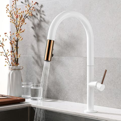 Single handle hot and cold kitchen faucet (white + rose gold) - 8' x 10'