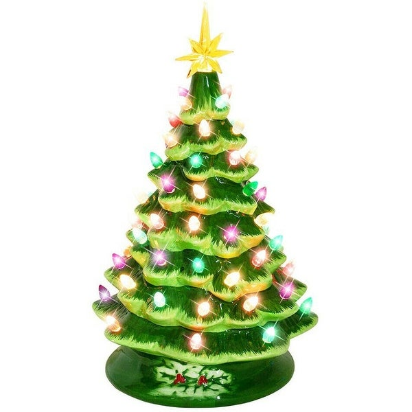 "15"" Lighted Vintage Ceramic Tree with Multicolored Lights, Tabletop Christmas"