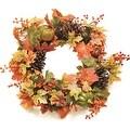 "20"" Autumn Harvest Decorative Artificial Fall Leaves  Pinecones  Pumpkins and Berries Wreath - Unlit - Thumbnail 0"