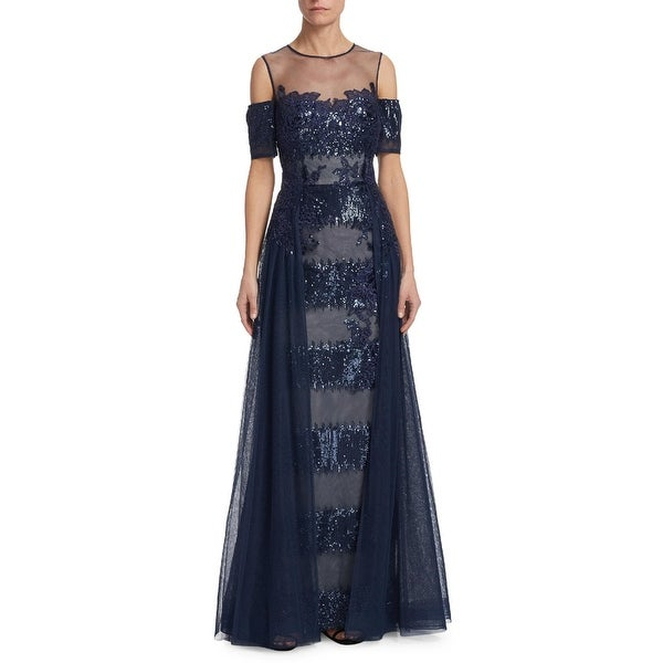 8999bd00ffa69 Teri Jon Sequin Lace Illusion Neck Cold Shoulder Evening Gown Dress Navy