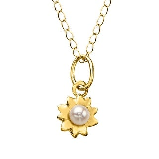 Girl's 2.5 mm Freshwater Pearl Flower Pendant in 14K Gold