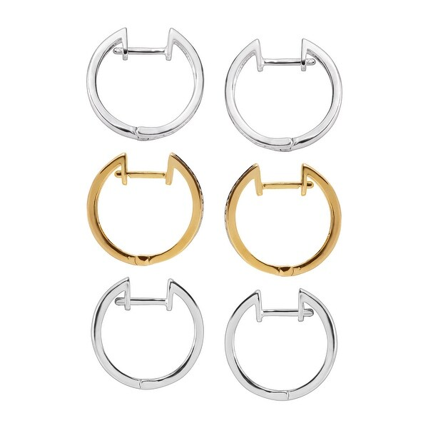 Hoop Earring Set with Diamonds in Plated Three-Tone Brass