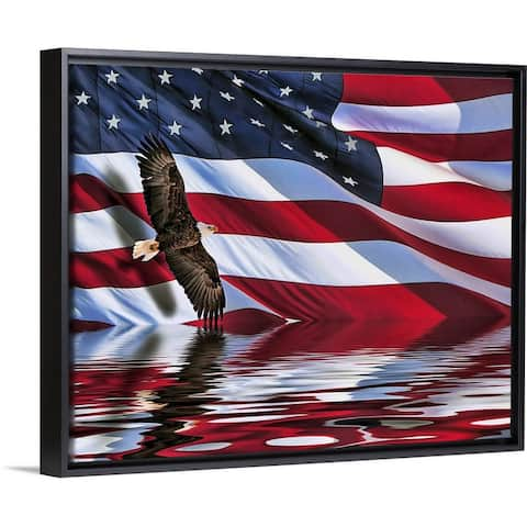 """Soaring bald eagle composite with an American flag"" Black Float Frame Canvas Art"