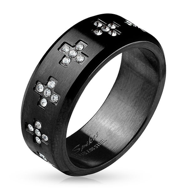 CZ Crosses Around Black IP Stainless Steel Ring (Sold Ind.)