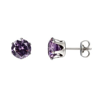 3mm Surgical Stainless Steel Round Purple CZ Studs Earrings Cubic Zirconia Prong 3mm