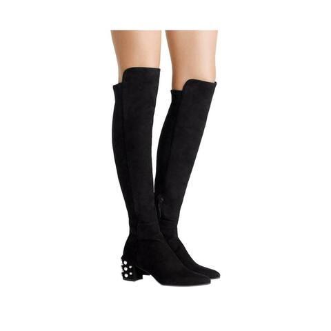 Stuart Weitzman Women's Allwaypearl Black Suede Knee High Boot (8.5 M US) - 8.5 M