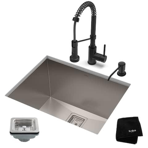 Kraus 3-in-1 Set Undermount Kitchen Sink, Pulldown Faucet, Dispenser