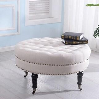 Belleze Large Ottoman Tufted Linen Bench w/ Caster Beige