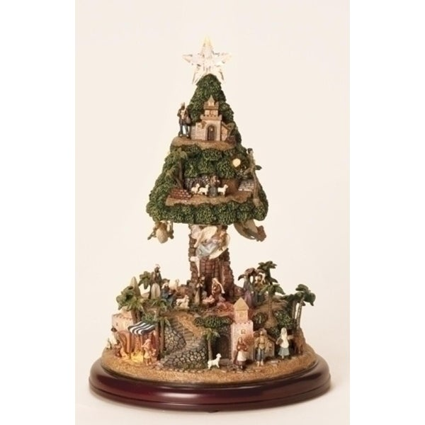 "13"" Inspirational LED Lighted Musical Nativity Tree Christmas Figure"