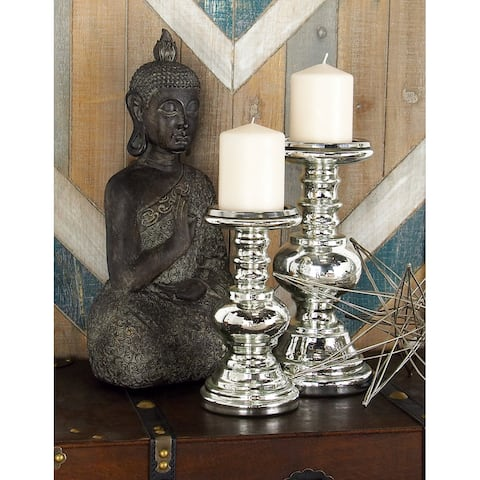 Silver Glass Traditional Candle Holder (Set of 2)