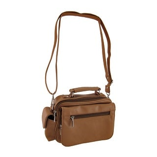 Brown Genuine Leather Handbag w/Cell Pouch and Removable Strap - Tan