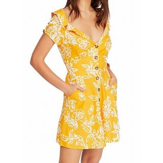 Link to Free People Womens Dresses Yellow Size 0 Shirt V-Neck Floral Print Similar Items in Women's Shoes