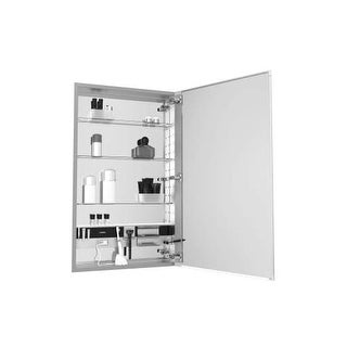 "Robern MC2040D4FPRE4 M Series 20"" x 40"" x 4"" Flat Plain Single Door Medicine Cabinet with Right Hinge, Integrated Outlets,"