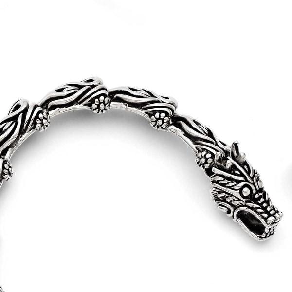 Chisel Stainless Steel Antiqued Dragon Bracelet