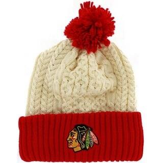 Chicago Blackhawks Logo Cuffed Knit Beanie with Pom