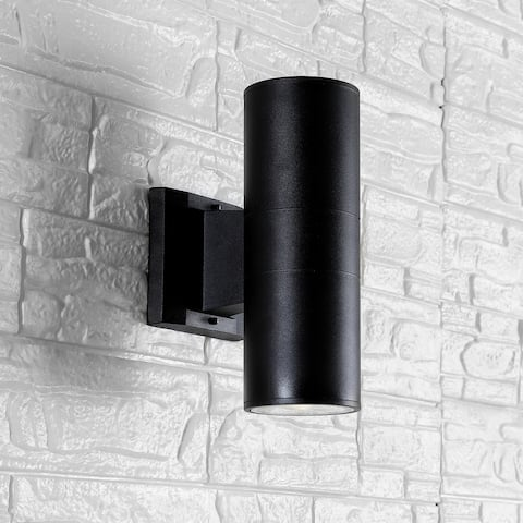 """Duo 6"""" Cylinder Outdoor Glass Integrated Sconce, Black by JONATHAN Y"""