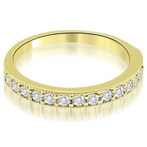 0.45 cttw. 14K Yellow Gold Classic Milgrain Round Cut Diamond Wedding Band