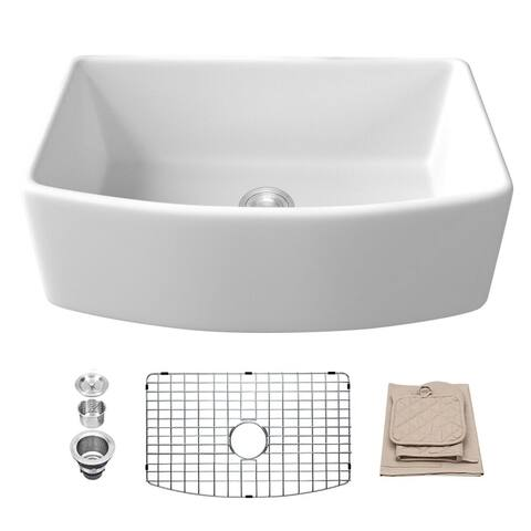 Lordear 30 Inch Fireclay Farmhouse Single Bowl Kitchen Sink