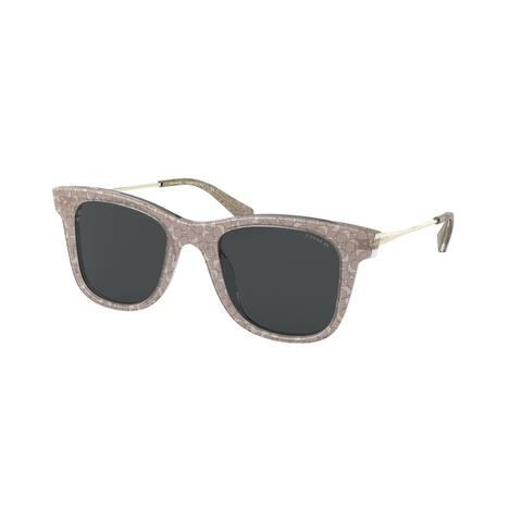Coach HC8290 558887 50 Transparent Smoke Sig C Woman Square Sunglasses - Smoke Sig C