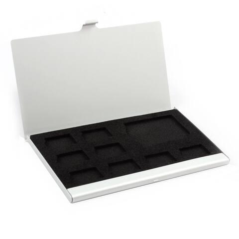 Aluminum Alloy 9 Slots TF SD SIM Memory Card Storage Box Bag Silver Tone
