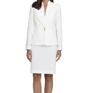 Tahari by ASL NEW White Ivory Women's 8 Stand Collar Skirt Suit Set