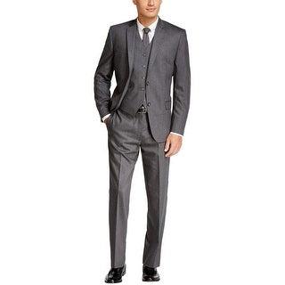 Tommy Hilfiger Upton Trim Fit Charcoal Striped 3pc Suit 42 Long Pants 36W
