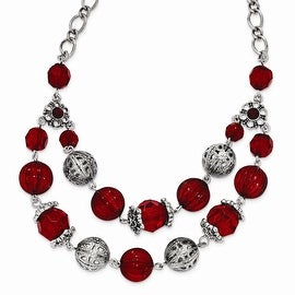 Silvertone Red Glass Red Acrylic Bead Multi-layered Necklace - 18in